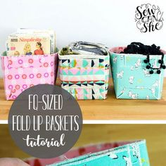 Fat Quarter Sized Fold Up Baskets.