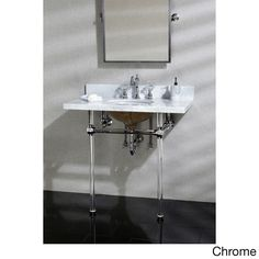 Kingston Brass Vintage Carrara Marble 36-inch Console Sink and Acrylic Stand (