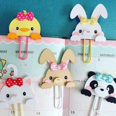 Bunny, Chick, Panda, Kitty and Fox Planner paper clip by MissKittysKreation Paperclip Crafts, Paperclip Bookmarks, Corner Bookmarks, Paper Clips Diy, Paper Clip Art, Foam Crafts, Paper Crafts, Diy Crafts, Panda Party
