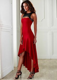 Red Maxi dresss, with black top edging