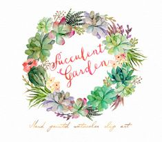 Watercolor Succulent wreath-Succulent от GraphicSafari на Etsy