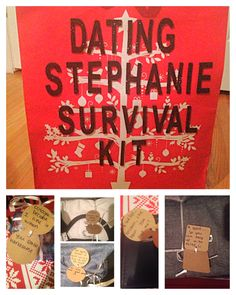 "Christmas ideas for your significant other!! It was our first Christmas together so I decided to come up with a ""survival kit"" for our relationship. It was a cute little way to give him a bunch of little things and some how make it about me too. The kit includes a new wallet, cologne, clothes, a scarf, and gym apparel. Each gift was wrapped separately with a little tag explaining it's purpose for survival. He not only loved each gift but also the creativity. +1 for me!"