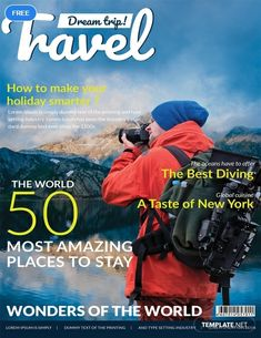 A modern cover page designed for a travel magazine Magazine Cover Layout, Magazine Cover Template, Magazine Layout Design, Magazine Format, Esquire, Gq, Paper Magazine, Magazin Covers, Art Vintage