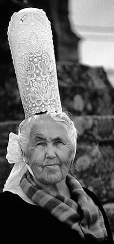 Bigoudène, traditional costume formerly known as a 'Cap Caval' of Le Pays Bigouden, Brittany. S)
