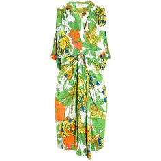 t-bags Draped Front Cut-out Back Tropical Printed Jersey Dress ($234) ❤ liked on Polyvore