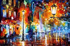 """Night Lights — PALETTE KNIFE Oil Painting On Canvas By Leonid Afremov - Size: 36"""" x 24"""" (90 cm x 60"""