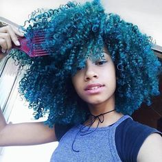 Pinterest - @coppermakeup Beautiful blue natural hair
