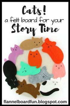 Preschool teachers or librarians in need of a cat flannel board to go along with your cat theme--here it is! Great open-ended set to extend kids' learning. Preschool Books, Classroom Activities, Toddler Activities, Preschool Activities, Preschool Teachers, Kindergarten, Flannel Board Stories, Felt Board Stories, Felt Stories