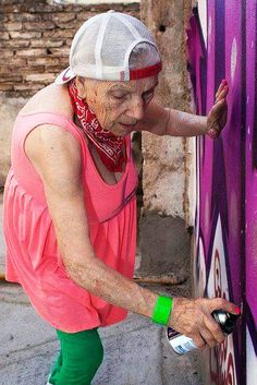 Graffiti Grandma - never too old to create badass art!