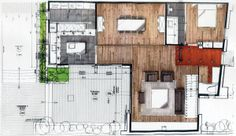 House #1 by Paul BRISSO, via Behance / idea for sketchy 3d materials for conceptual/schematic phase