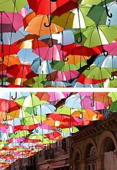 Floating Umbrellas } Agueda, Portugal. An art installation created by the council of Agueda.
