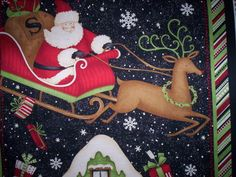 1 Panel Rooftop Santas Debbie Mumm SSI Fabrics Santa and Sleigh Plus 2 Stockings Christmas Fabric, Needle And Thread, Rooftop, Fabrics, Santa, Snoopy, Stockings, Xmas, Vintage