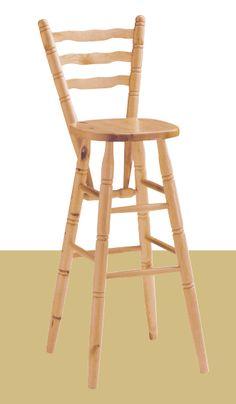 Sgabello bar con schienale alto cm. 110. Costruito interamente in pino massiccio. #sgabelli #sedie #mobilirustici #arredamentirustici