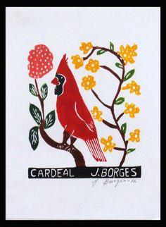 J. Borges. Cardeal (Xilogravura). 33x24 cm