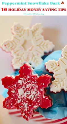 INEXPENSIVE Peppermint Snowflake Bark & 10 HOLIDAY MONEY SAVING TIPS (to help you save BIG).