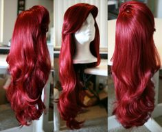 Red Wig with Thick Swoop Bangs and Beautiful Full Waves: One of a Kind High Quality Wig designed by Traci Hines---hey look, it's Ariel's hair! Straight Up Hairstyles, Dread Hairstyles For Men, Boy Hairstyles, Little Mermaid Hair, Mermaid Wig, Mermaid Makeup, Lace Front Wigs, Lace Wigs, Ariel Hair