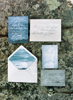Photography:  Elisa Bricker | Featured Stationer: Julie Song Ink; Hadas Cohen Wedding Dresses Styled with Oceanic Blue Ideas - wedding invitation idea; Julie Song Ink