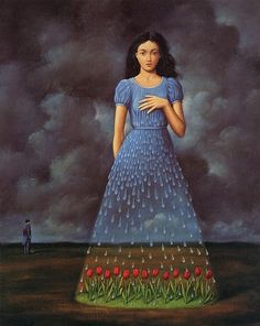 whisperinglion:  Painting by Rafal Olbinski, as seen in Spectrum 4.