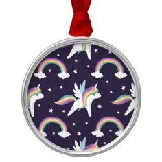 #cute - #Cute Fairy Unicorn  rainbows blue background Metal Ornament