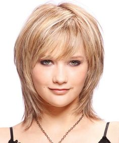 best hairstyles for shoulder length hair round face with bangs - Google Search