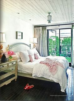 https://flic.kr/p/a6gftC | Berkley Vallone / Phoenix Home and Garden {eclectic vintage flea market bohemian bedroom} | White walls, black floors, and a host of dusky pinks.