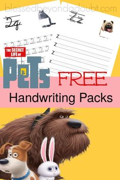 Hurry and grab these super cute The Secret Life of Pets Handwriting printable set - print and cursive edition for FREE!