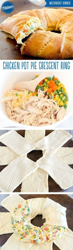 Warm up with a classic! This Chicken Pot Pie Crescent Ring is a fun twist on your favorite pot pie. Loaded with chicken and vegetables this crescent ring will quickly become a family favorite dinner.