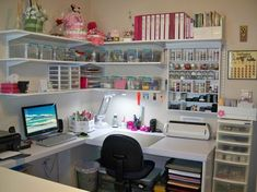 The post Lena's Creations: Craft Room Revamped! 2019 appeared first on Scrapbook Diy. Sewing Room Design, Craft Room Design, Sewing Rooms, Craft Room Decor, Craft Room Storage, Room Organization, Workshop Storage, Craft Room Shelves, Craft Desk