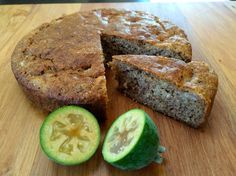 Feijoa Cake! 1 c almond meal (or 3/4 c ground up whole almonds)  1/4 c coconut flour 1/2 c tapioca flour 1/4 c desiccated coconut  1 t baking powder  1 t baking soda  1 c mashed feijoa pulp  1/4 c coconut oil, melted (or butter for non dairy free)  1/2 t vanilla paste or 1 t vanilla essence 4 T pure maple syrup  4 eggs, lightly beaten  #cake Vanilla Paste, Almond Meal, Pure Maple Syrup, Vanilla Essence, Almond Recipes, Coconut Flour, Almonds, Baking Soda, Banana Bread