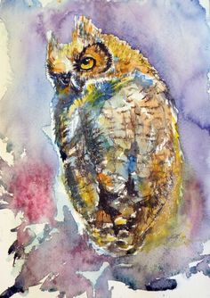 ARTFINDER: Owl at night II by Kovács Anna Brigitta - Original watercolour painting on high quality watercolour paper. I love landscapes, still life, nature and wildlife, lights and shadows, colorful sight. Thes...