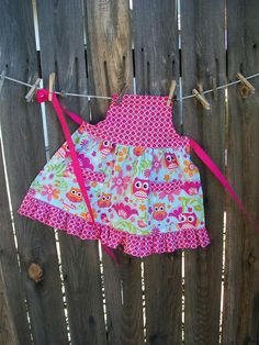 Girl Apron with Owls Hot Pink and Blue Ruffled Retro Girl | Etsy