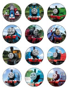 Edible THOMAS THE TRAIN  Cupcake Toppers 12 edible images for Cupcakes, cookies, brownies or any dessert birthday. $6.00, via Etsy.