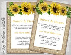 "Sunflower Wedding invitation template ""Rustic Sunflower"" printable invitations templates YOU EDIT burlap invite -digital instant download"