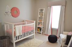 Real Nursery Tour- Contemporary Coral (Wall Color: Benjamin Moore's Revere Pewter)