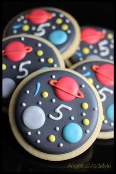 Outer space sugar cookies. Great for kids' birthday parties.