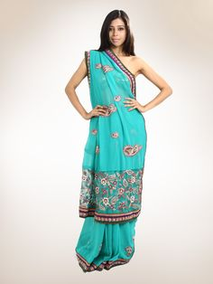 Traditional Sea Green  Georgette  Embroiderer Sari With Net Pallu