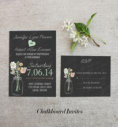 mint and peach chalkboard rustic wedding invitations