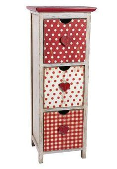 SWEET HEART Schrank red/white Shabby Vintage, Shabby Chic, Decoration, Ladder Decor, Red And White, Design, Furniture, French Kitchens, Home Decor