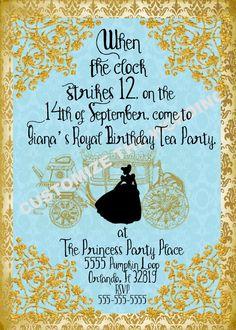 CINDERELLA inspired Invitation Fairytale Party CUSTOM Wording by GigiBabi on Etsy