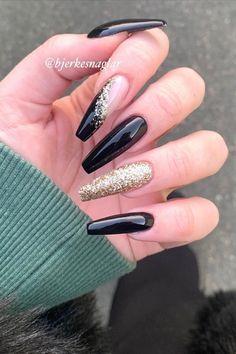- black and gold nails acrylic coffin glitter! Acrylic Nails Coffin Glitter, Silver Glitter Nails, Black Coffin Nails, Simple Acrylic Nails, Best Acrylic Nails, Acrylic Nail Designs Coffin, Cute Nails, Pretty Nails, Cute Black Nails