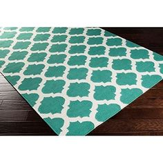 36 x 56 Aqua Blue Trellis Pattern Area Rug Vibrant Bright Color Geometric Contemporary Medallion Themed Mat Bedroom Living Room Hand Woven Soft Indoor Outdoor Rectangle Carpet Wool