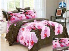 Różowe kwiaty pościel z mikrowłókna w kolorze brązowym