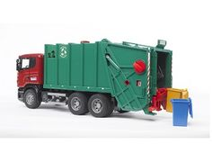 The Scania R-Series Green Garbage Truck from the Bruder Truck collection - Discounts on all Bruder Toys at Wonderland Models.    One of our favourite models in the Bruder Trucks range is the Bruder Scania R-Series Green Garbage Truck.    This Garbage Truck comes with two dustbins and features a working dustbin lift, opening cab door, a cab that tilts forward to reveal a detailed engine, a working rubbish ejector, a clear windscreen and soft, treaded tyres.