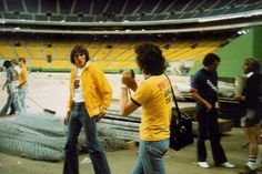 Roger Waters and (we believe) Nick Mason prior to the July 6th, 1977 concert at Montreal's Olympic Stadium, a show which concluded the In The Flesh tour, and provided inspiration for The Wall...
