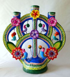 MEXICAN IZUCAR PAINTED CERAMIC TREE OF LIFE FOLK ART CANDLEHOLDER JORGE MC