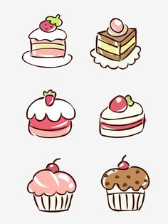 Food Elements Hand Drawn Cute Cartoon Dessert Cake Vector and PNG Cute Food Drawings, Mini Drawings, Cute Animal Drawings, Kawaii Drawings, Doodle Drawings, Cartoon Drawings, Easy Drawings, Sweet Drawings, Food Doodles