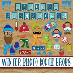 Winter Photo Booth Props and Decorations - Christmas Print