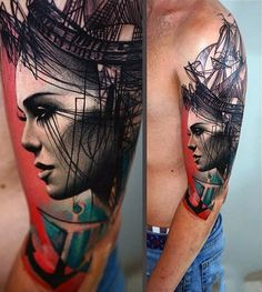 Anchor Female Portrait Mens Badass Upper Arm Tattoo Abstract Design