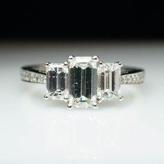 Beautiful Vintage 3 Stone 1.66ctw Emerald Cut Diamond Engagement Ring Emerald Diamond Ring Three Stone Engagement Ring Band by JamieKatesJewelry on Etsy https://www.etsy.com/listing/247818630/beautiful-vintage-3-stone-166ctw-emerald