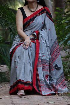 Sambalpuri Double Ikkat Cotton Handloom Saree by Dvija Cotton Saree Designs, Sari Blouse Designs, Chanderi Silk Saree, Silk Sarees, Indian Sarees, Cotton Silk, Cotton Fabric, Cotton Texture, Saree Models